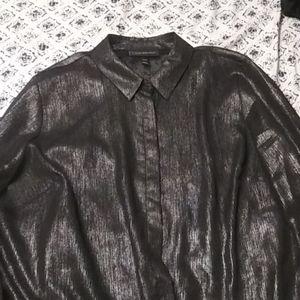 Sheer metallic button up shirt